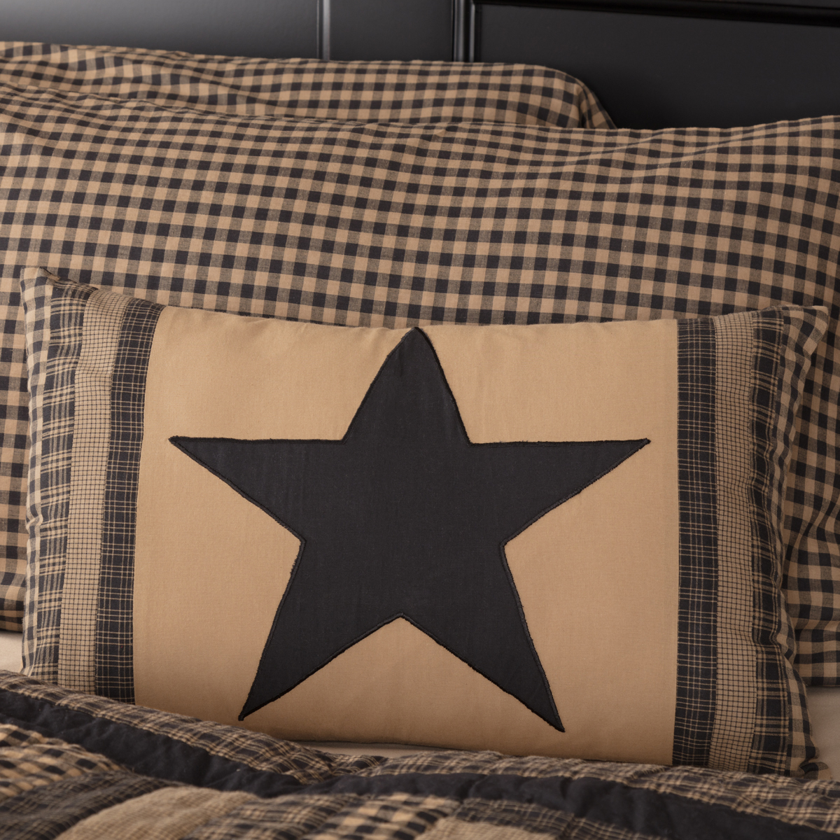 Black Check Star Patch Pillow 14x22