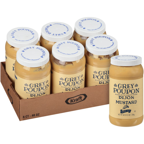 GREY POUPON Dijon Mustard, 48 oz. (Pack of 6)