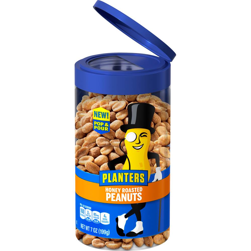 Planters Pop & Pour Honey Roasted Peanuts, 7 oz Jar image