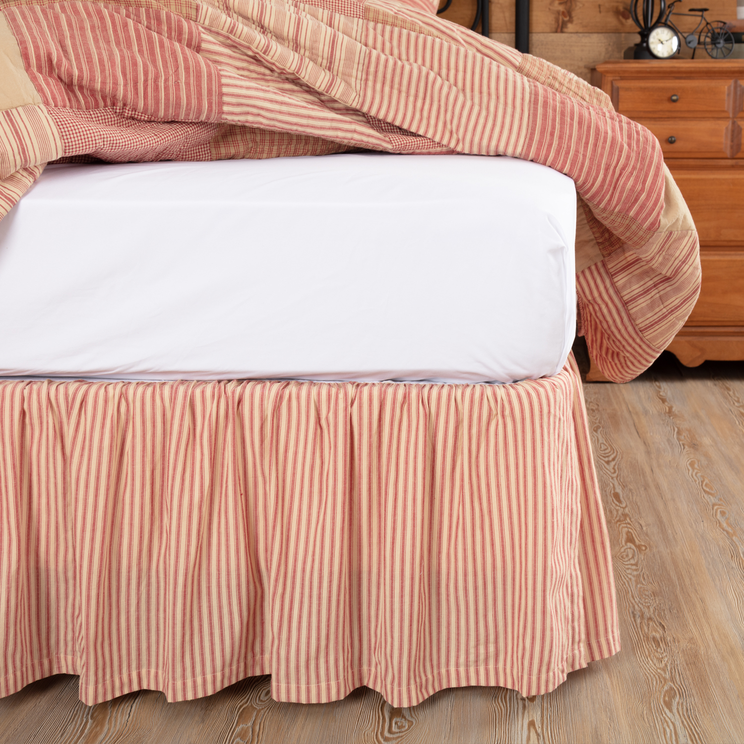 Sawyer Mill Red Ticking Stripe King Bed Skirt 78x80x16