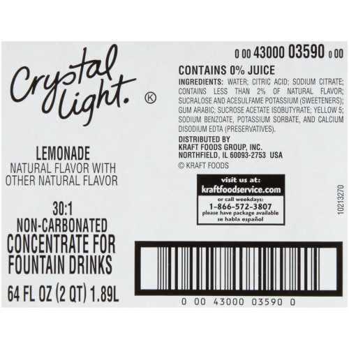 CRYSTAL LIGHT Lemonade Bag-in-Box Liquid Concentrate, 64 oz. Bag