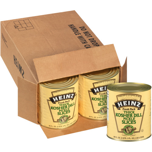 HEINZ Kosher Dill Pickle Slices #10 Can, 99 fl. oz. (Pack of 6)