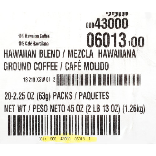 CAFÉ COLLECTIONS Hawaiian Blend Roast & Ground Coffee, 2.25 oz. Bag (Pack of 20)