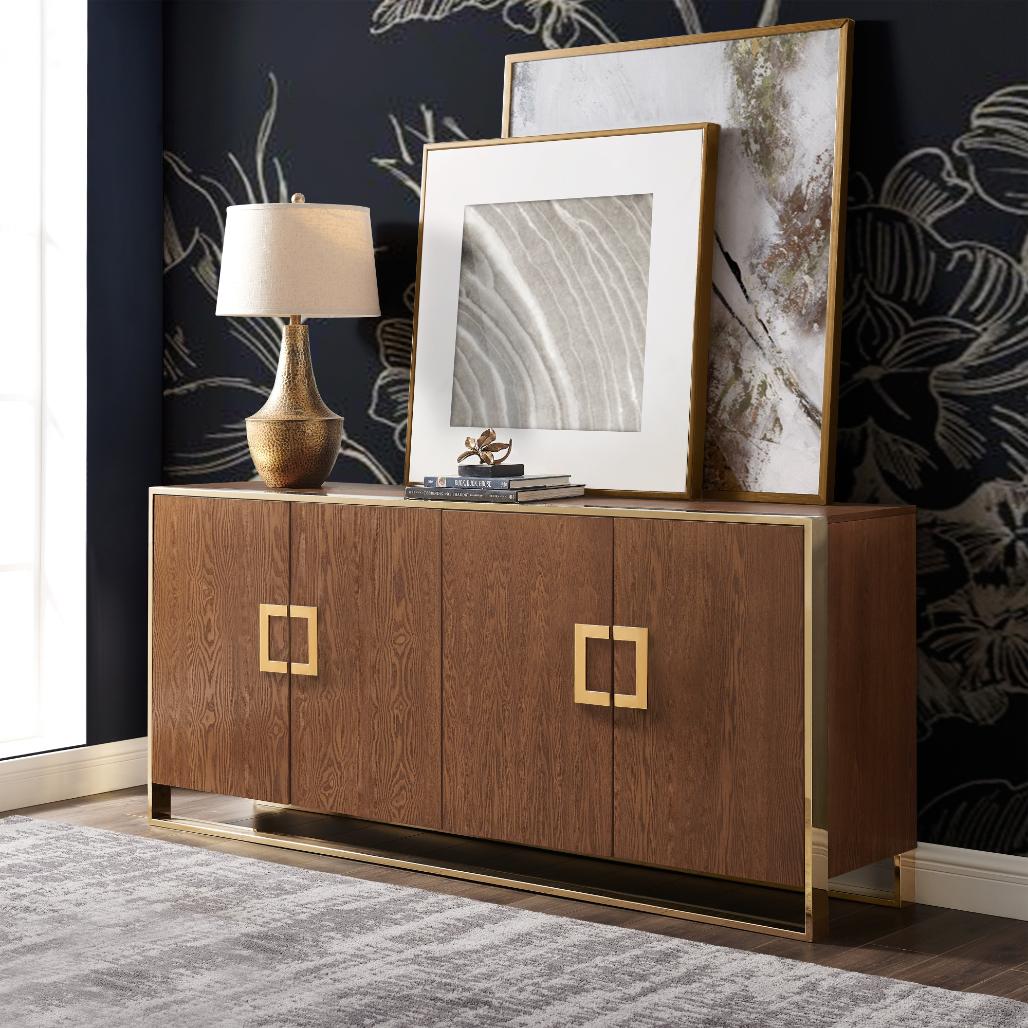 Inspired Home Ash Brown Sideboard 4 Doors Polished Gold Handle and Leg Tip