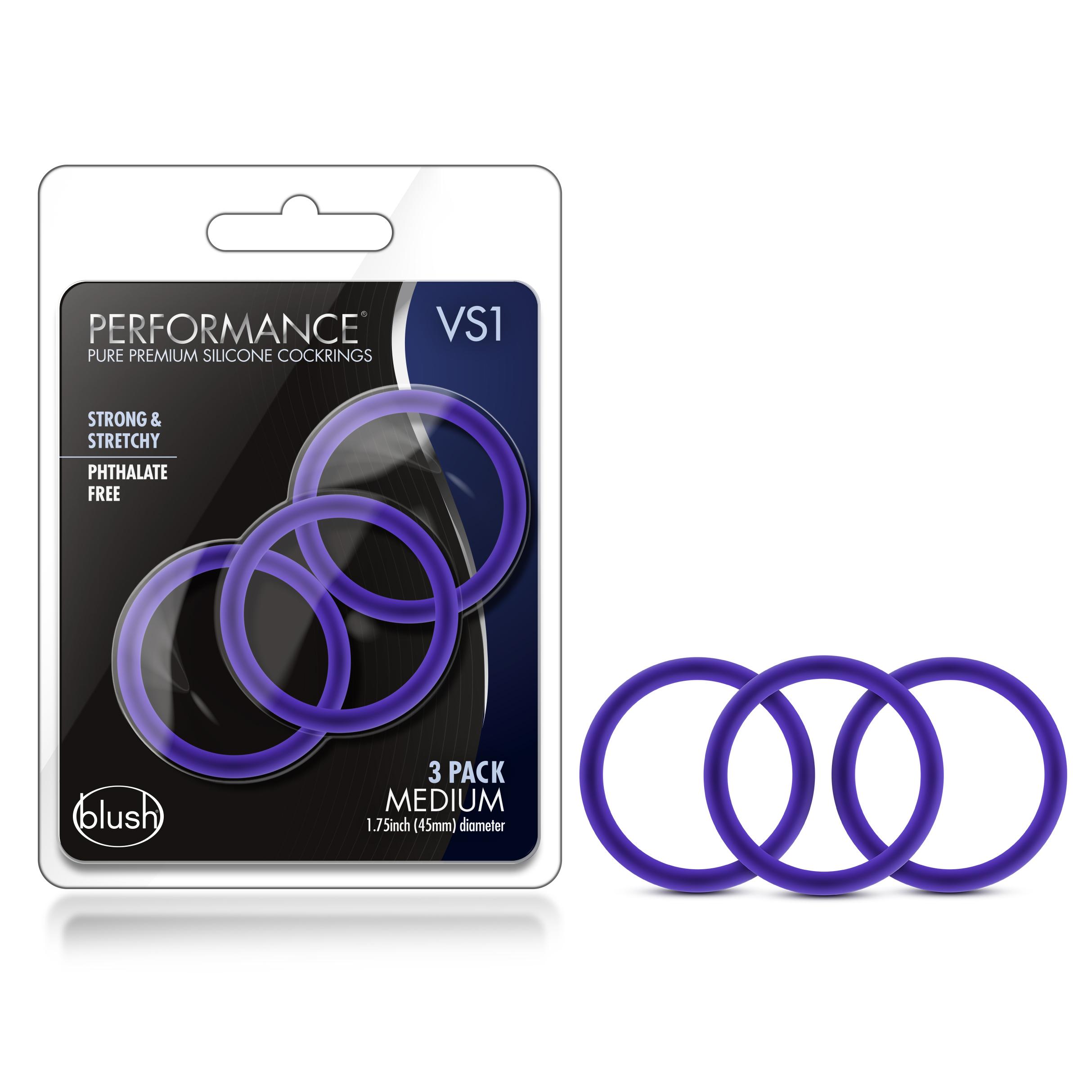 Performance - VS1 Pure Premium Silicone Cock Rings - Medium - Indigo