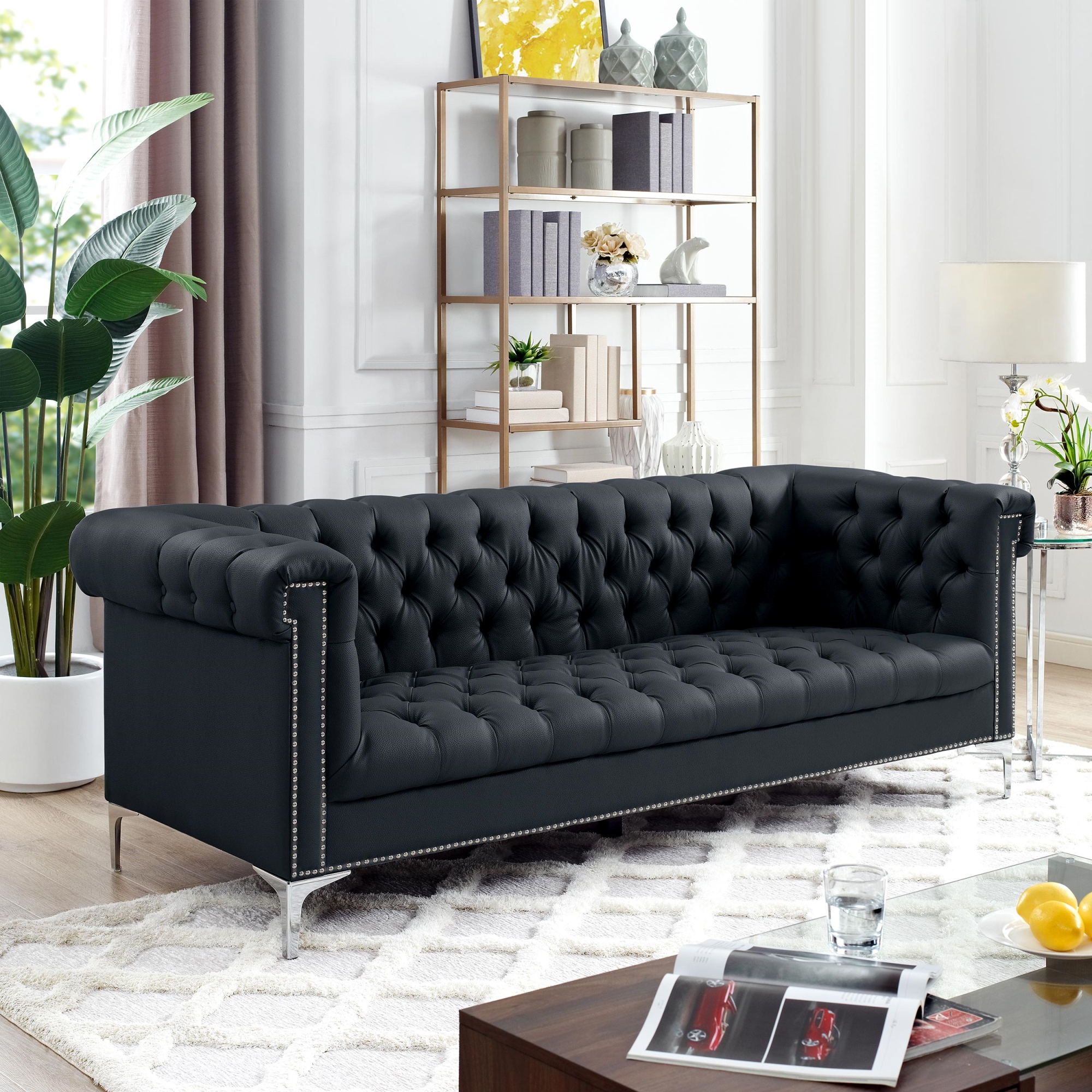 Inspired Home Black PU Leather Sofa Button Tufted Silver Nailhead Trim