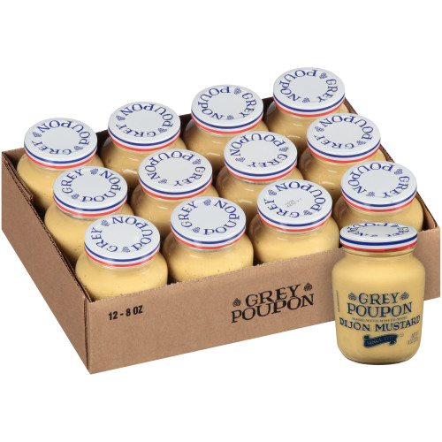 GREY POUPON Dijon Mustard, 8 oz. Jars (Pack of 12)