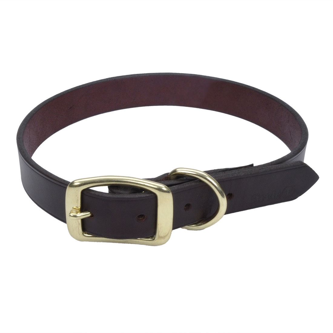 Circle T® Latigo Leather Town Dog Collar with Solid Brass Hardware