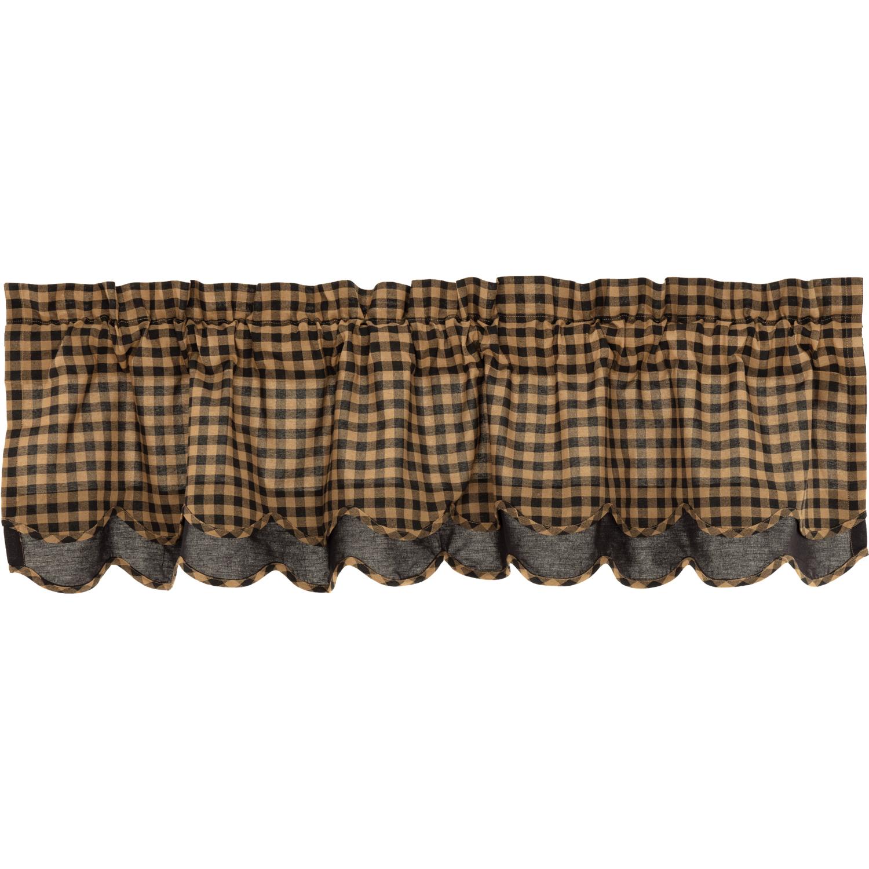 Black Check Scalloped Layered Valance 16x60