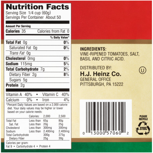 BELL ORTO Pizza Sauce with Basil, 107 oz. Can (Pack of 6)
