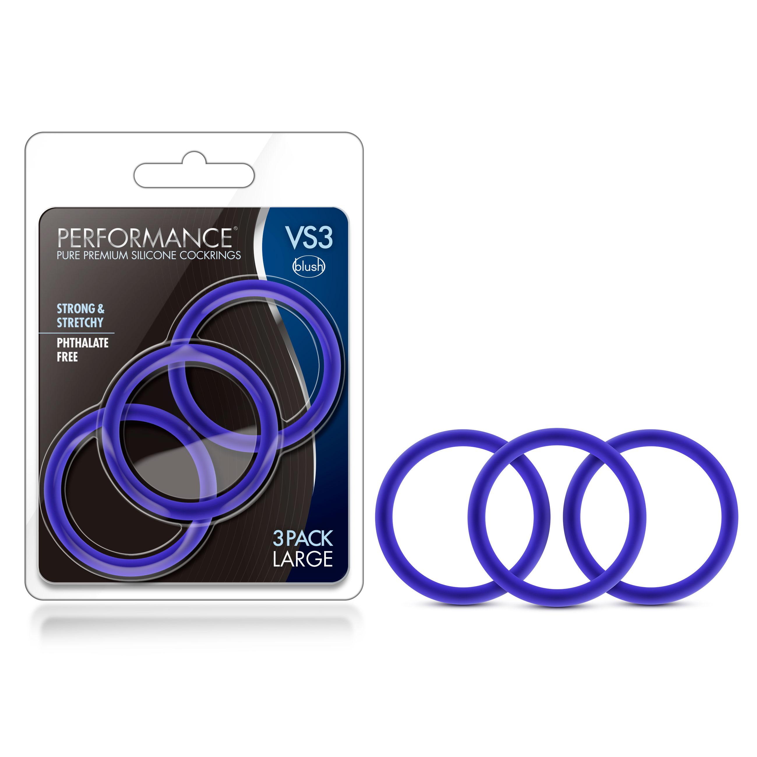 Performance - VS3 Pure Premium Silicone Cock Rings - Large - Indigo