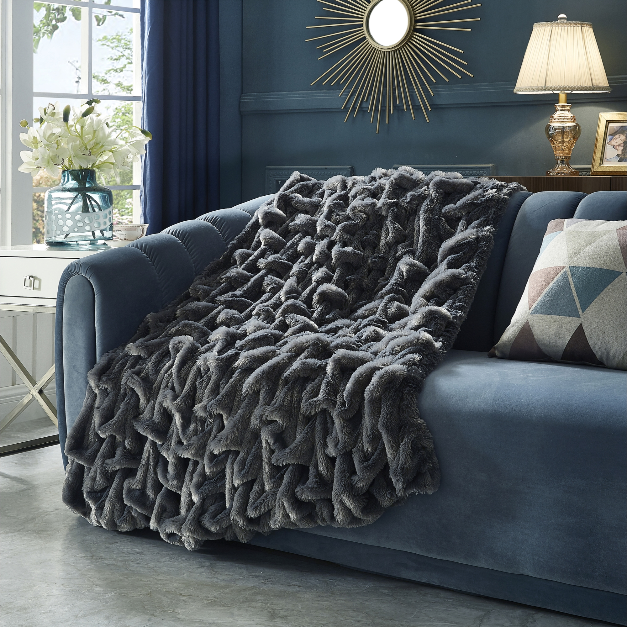 Cozy Tyme Grey 100% Polyester Throw Reverse Micromink Cozy