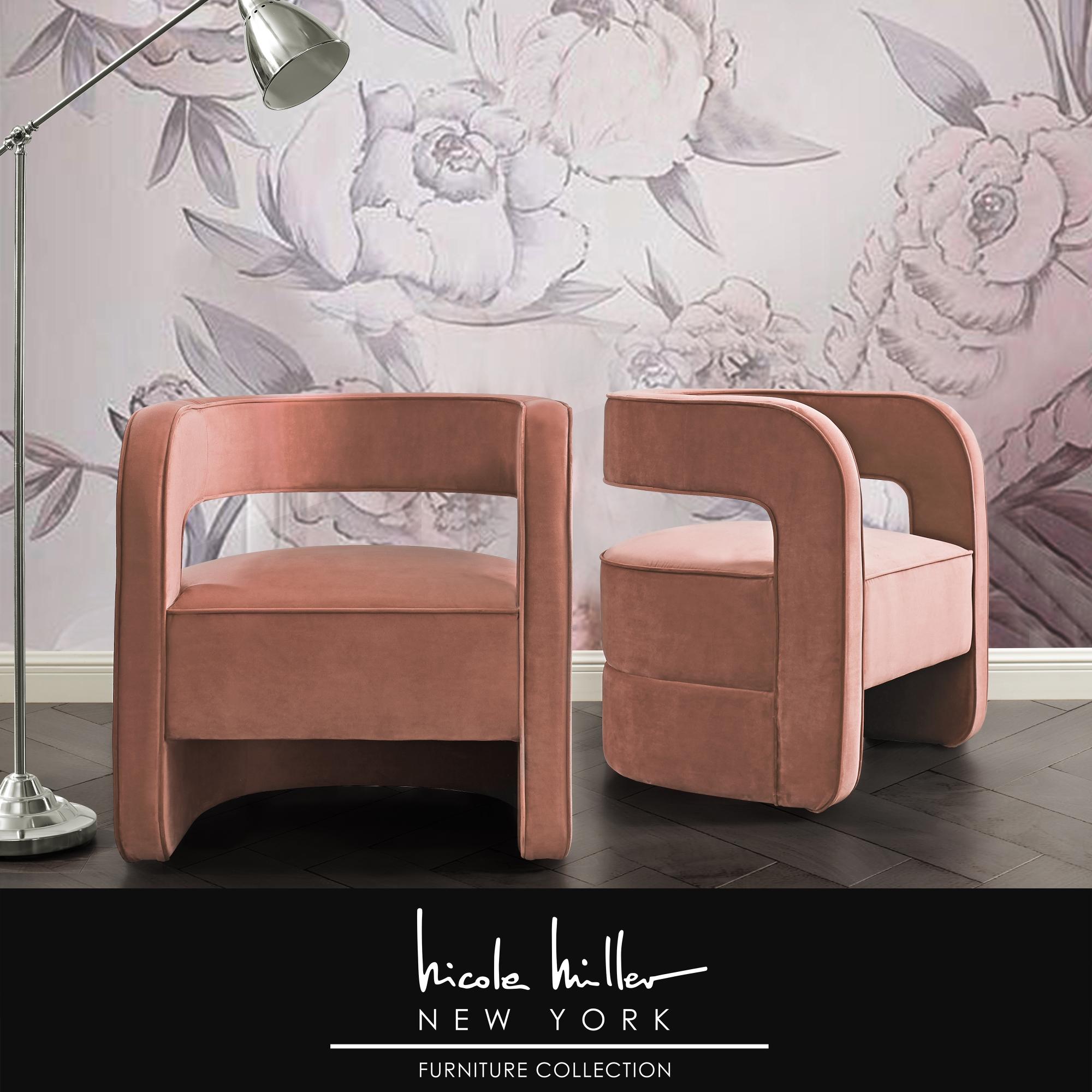 Nicole Miller Blush Velvet Accent Chair Upholstered Open Back