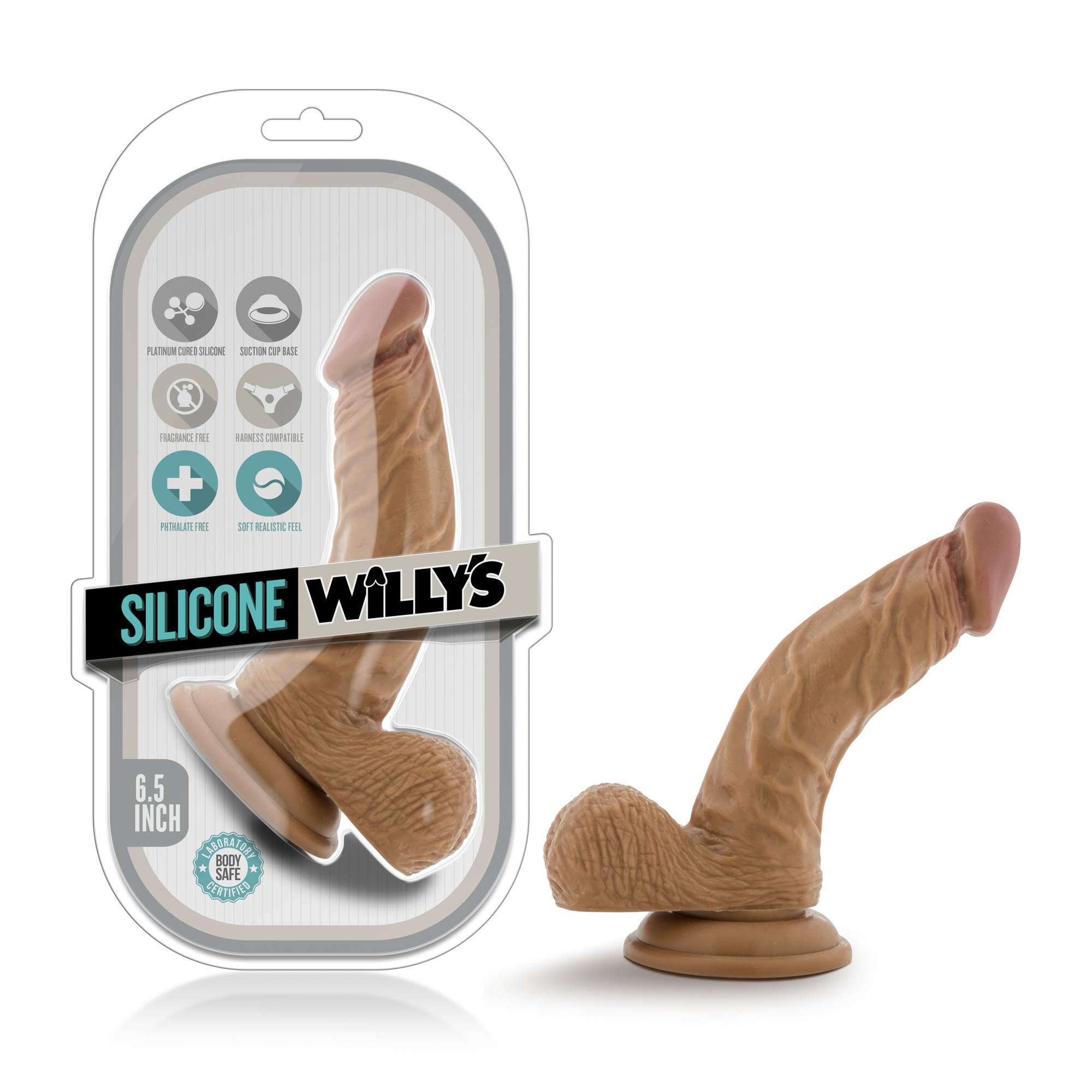 Silicone Willy's - 6.5 Inch Silicone Dildo With Balls - Mocha