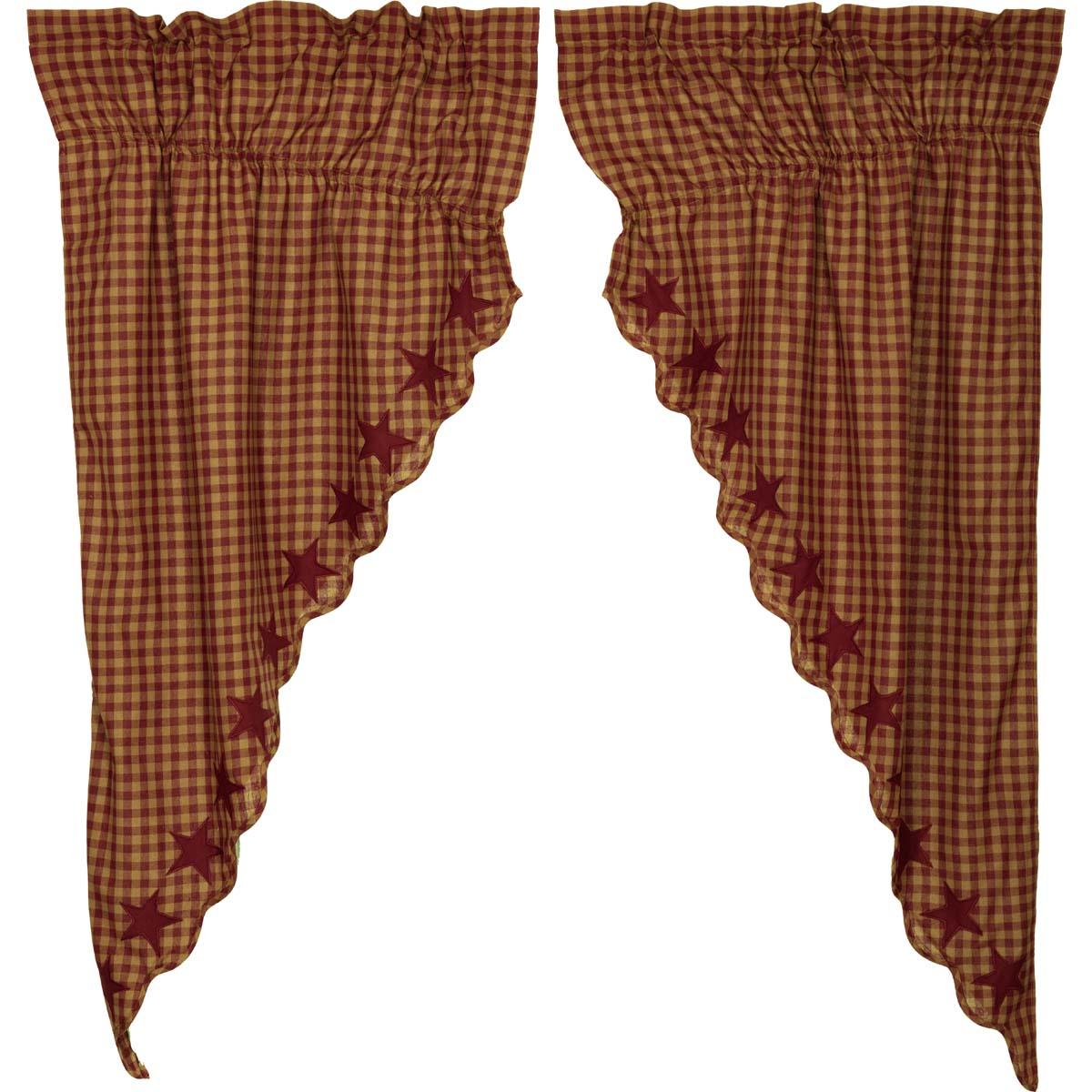 Burgundy Star Scalloped Prairie Short Panel Set of 2 63x36x18