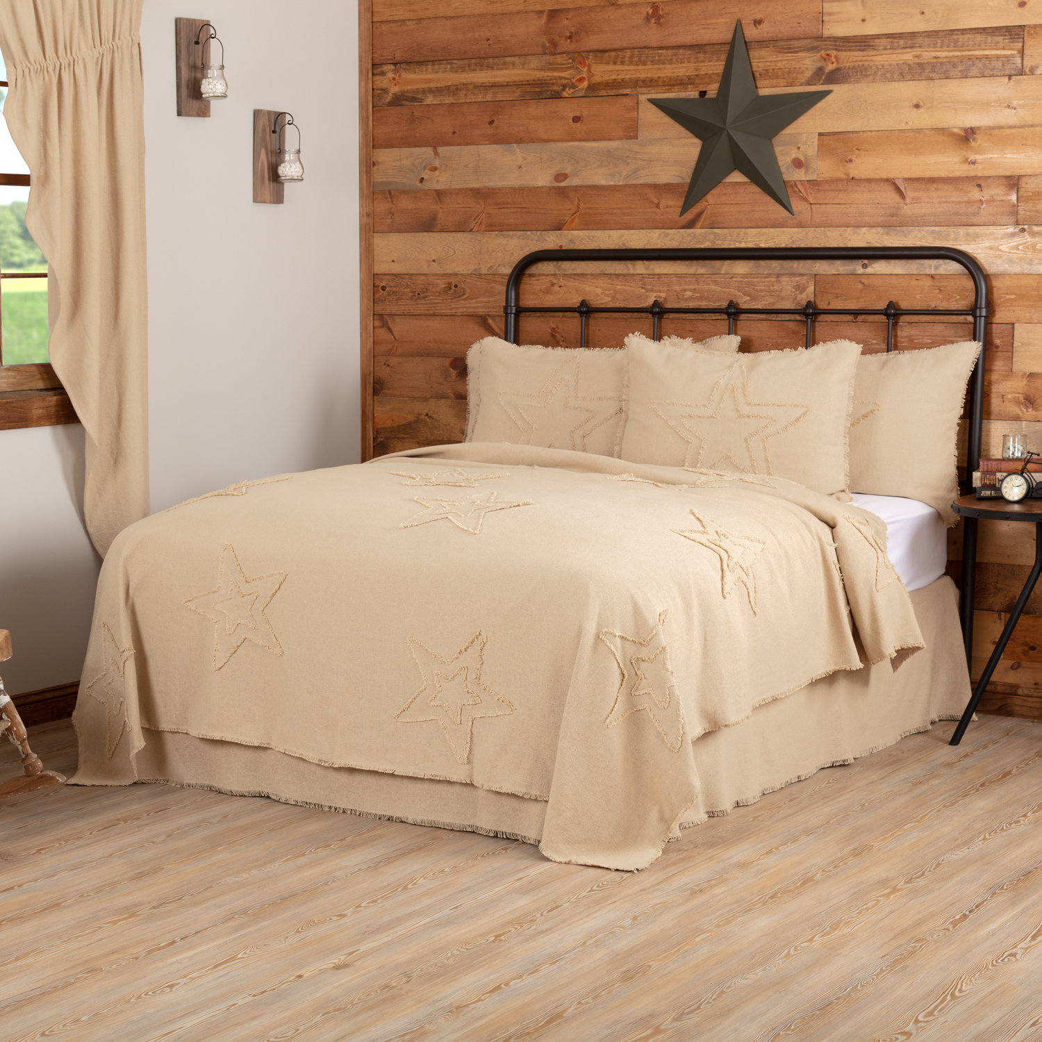 Burlap Vintage Star King Coverlet 96x108