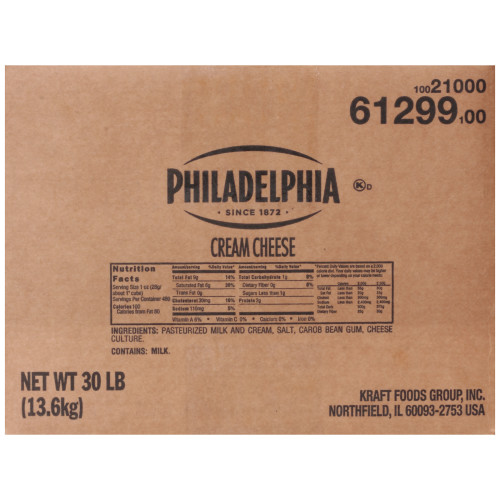 PHILADELPHIA Original Cream Cheese, 30 lb. Carton (Pack of 1)