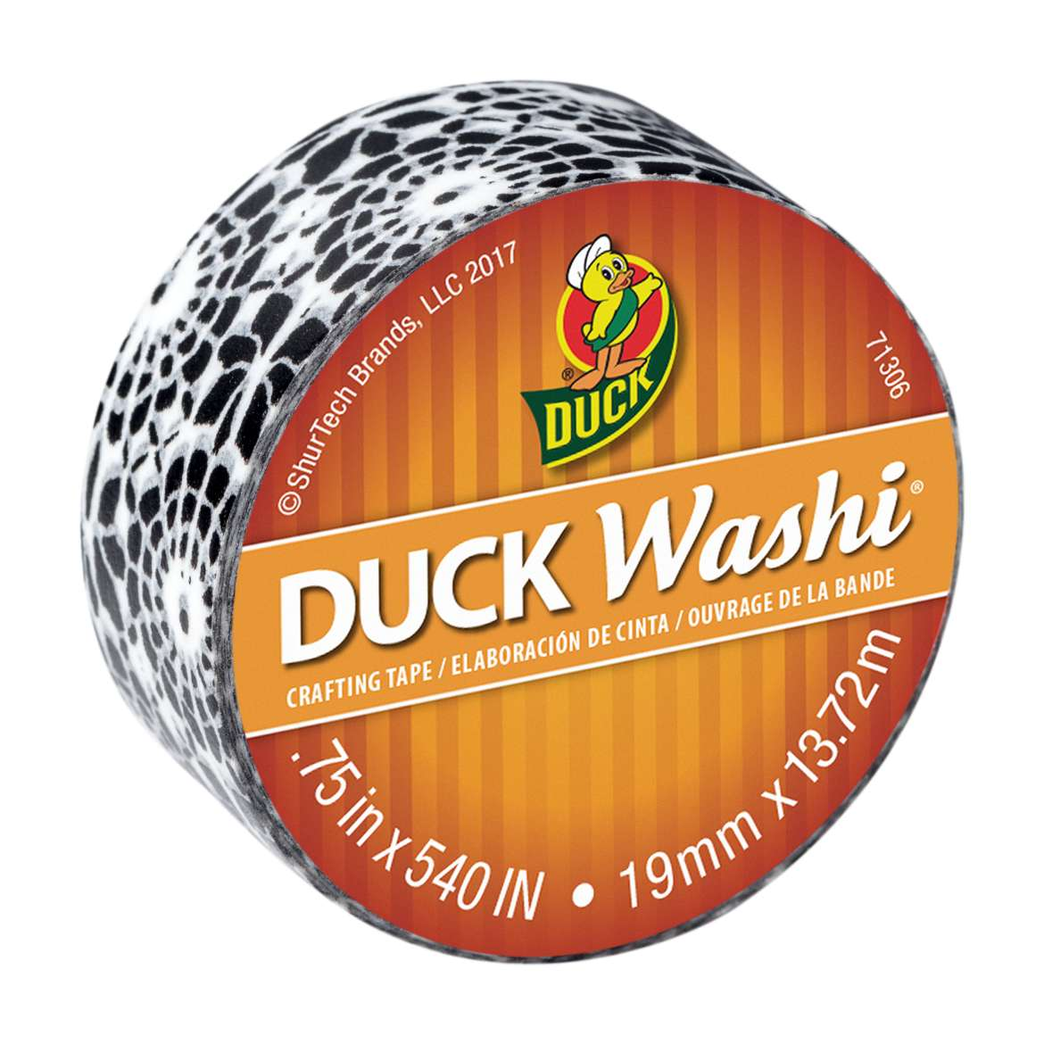 Duck Washi® Crafting Tape - Black Medallion, 0.75 in. x 15 yd. Image