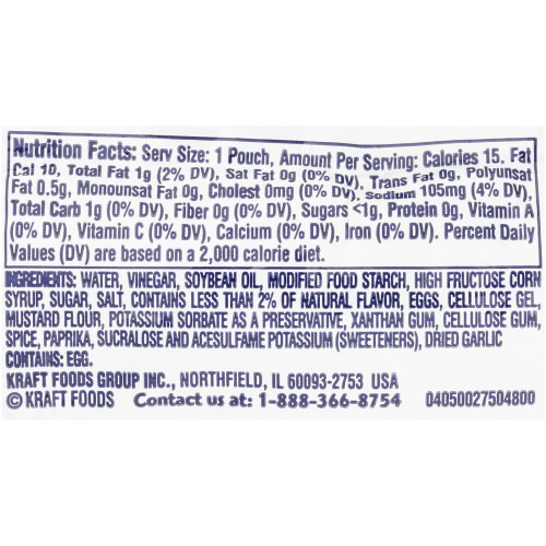 KRAFT Miracle Whip Single Serve Light Mayo Dressing, 0.44 oz. Packets (Pack of 200)