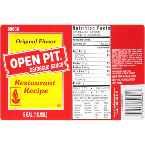OPEN PIT Original BBQ Sauce, 5 gal. Pail