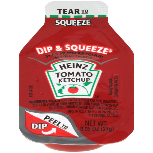 HEINZ Single Serve Ketchup DIP & SQUEEZE Packet, 27 gr. Container (Pack of 300)