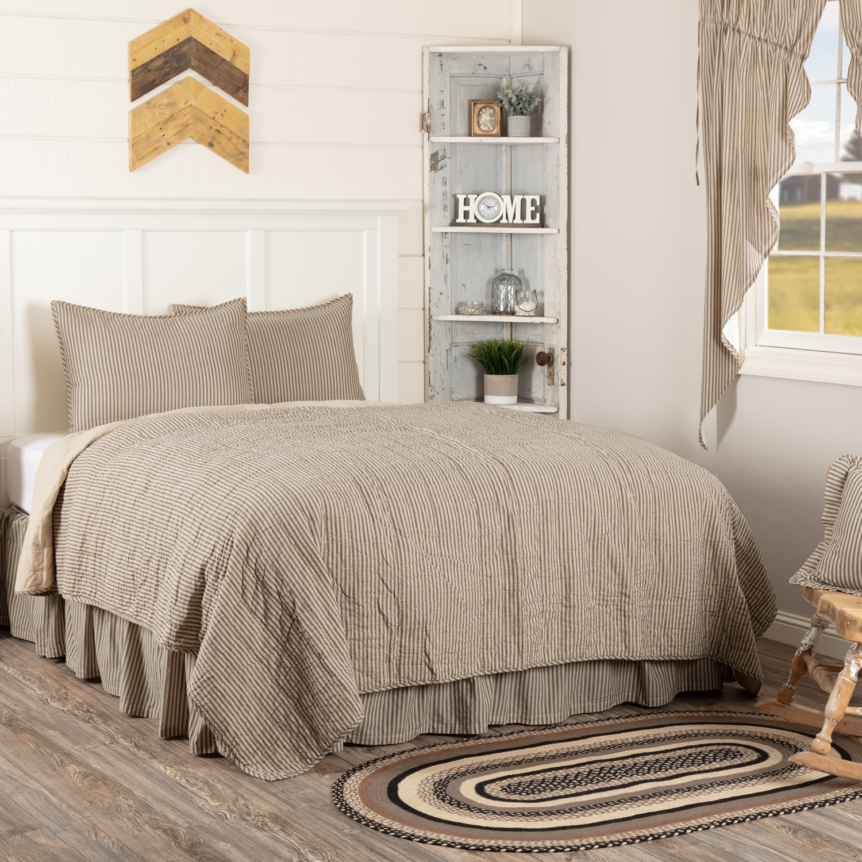 Sawyer Mill Charcoal Ticking Stripe King Quilt Set; 1-Quilt 105Wx95L w/2 Shams 21x37