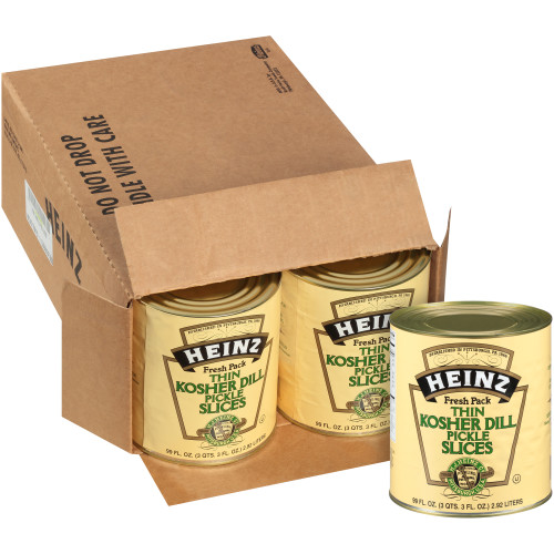 HEINZ Thin Kosher Dill Pickles #10 Can, 99 fl. oz. (Pack of 6)