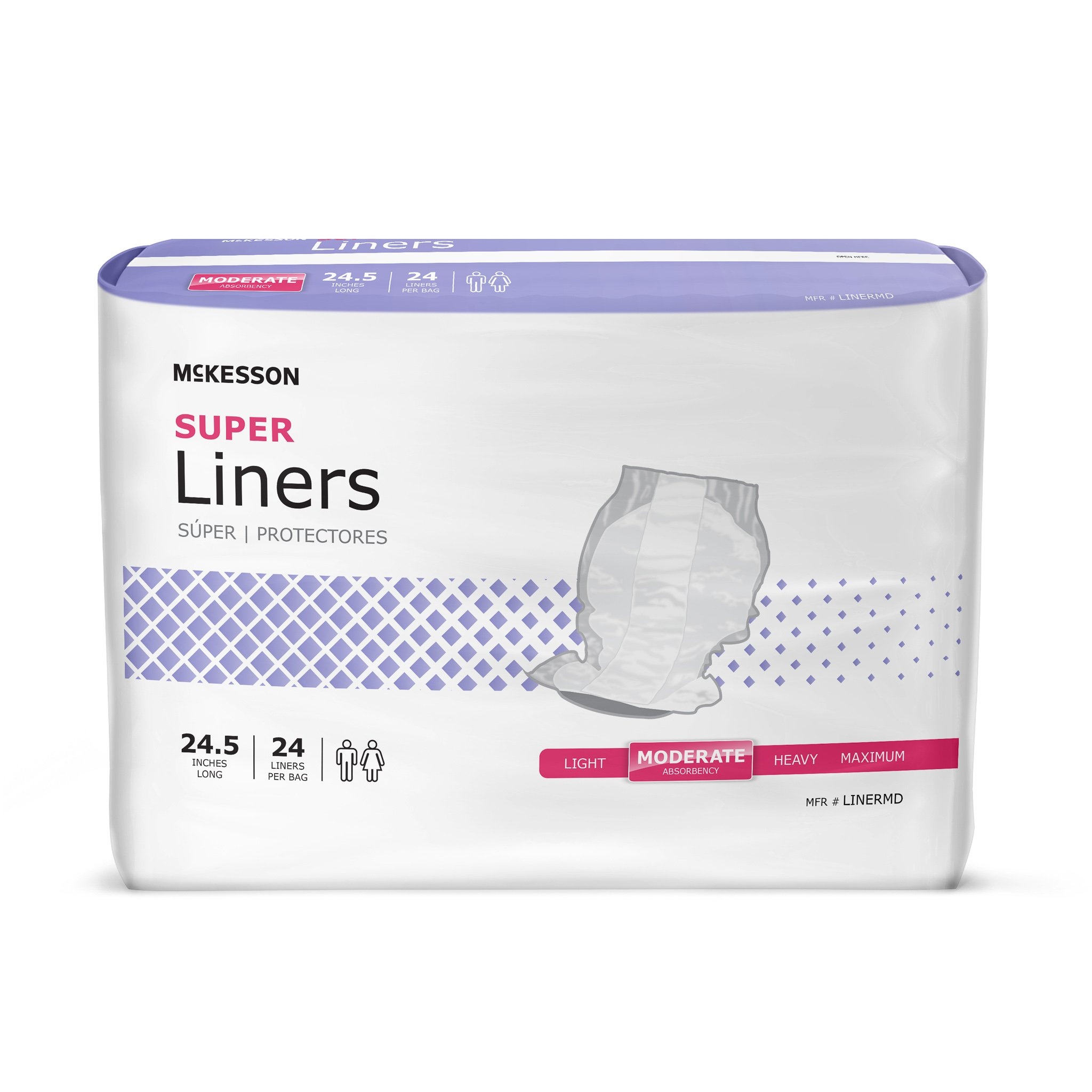 McKesson  Incontinence Liner 24-1/2 Inch Length Moderate Absorbency Polymer One Size Fits Most Unisex Disposable, LINERMD - Case of 96