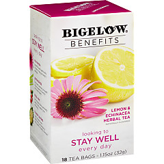 Benefits Lemon and  Echinacea Herbal Tea - Case of 6 boxes - total of 108 teabags