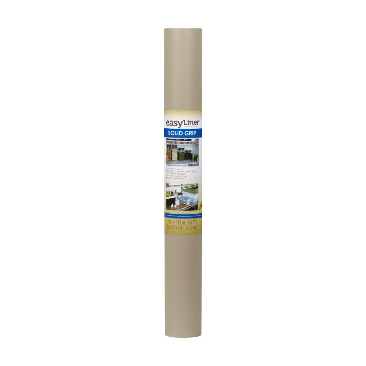 Solid Grip Easy Liner® Brand Shelf Liner - Taupe, 20 in. x 5 ft. Image