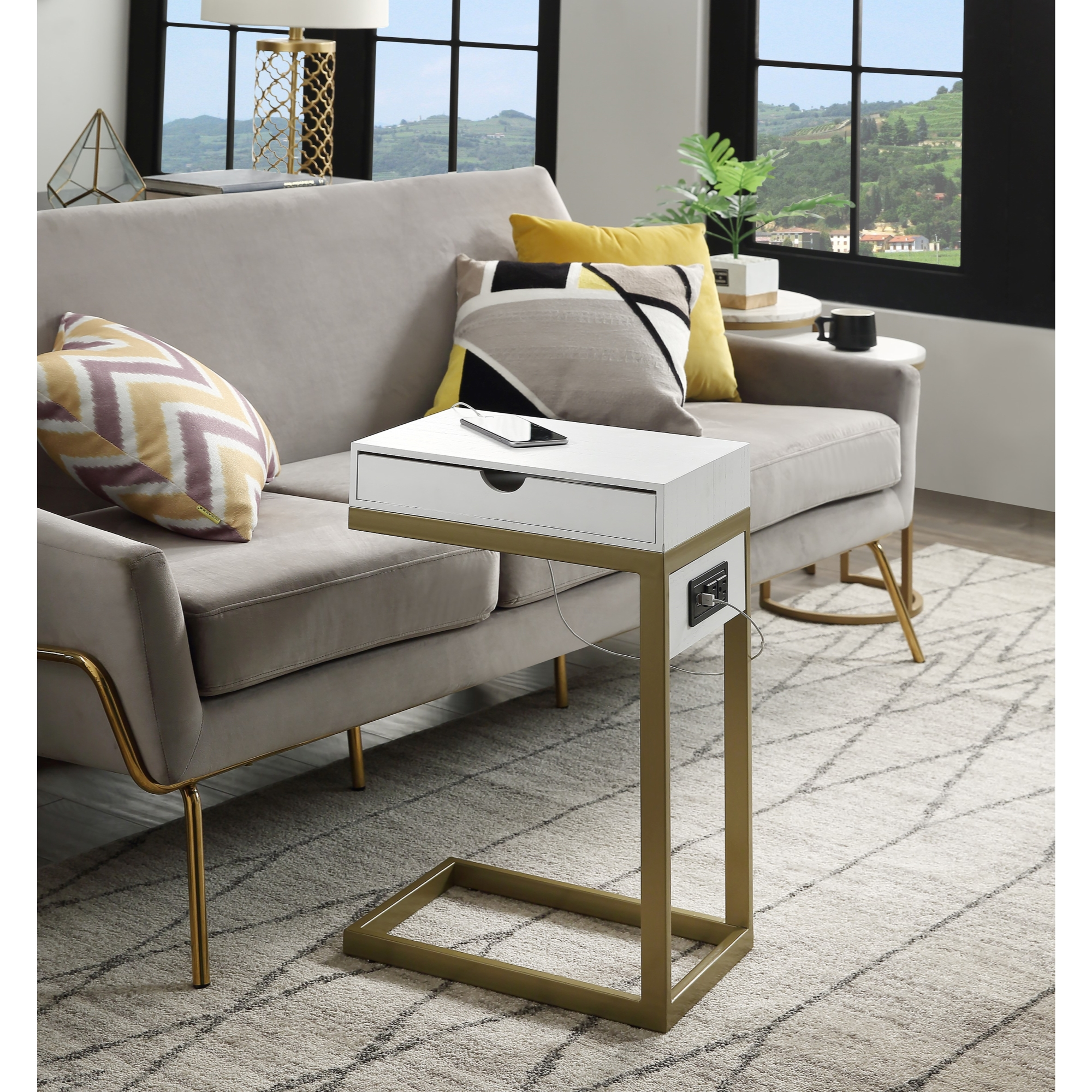 Loft Lyfe White/Gold End Table 2 USB Charging Ports, 2 Outlets, Power Plug 1 Drawer