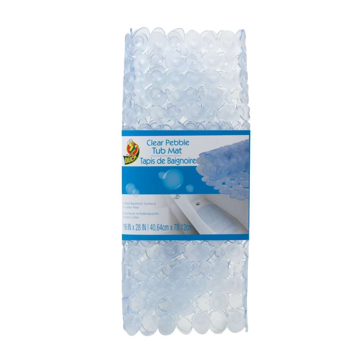 Duck® Brand Designer Tub Mat - Clear Pebble, 16 in. x 28 in. Image