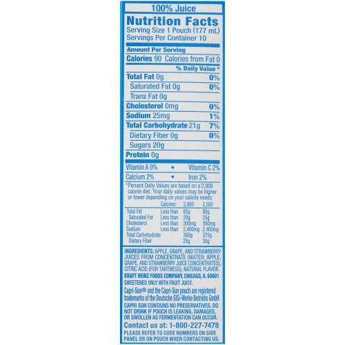 CAPRI SUN 100% Juice Berry Pouch, 6 oz. Pouches (Pack of 40)
