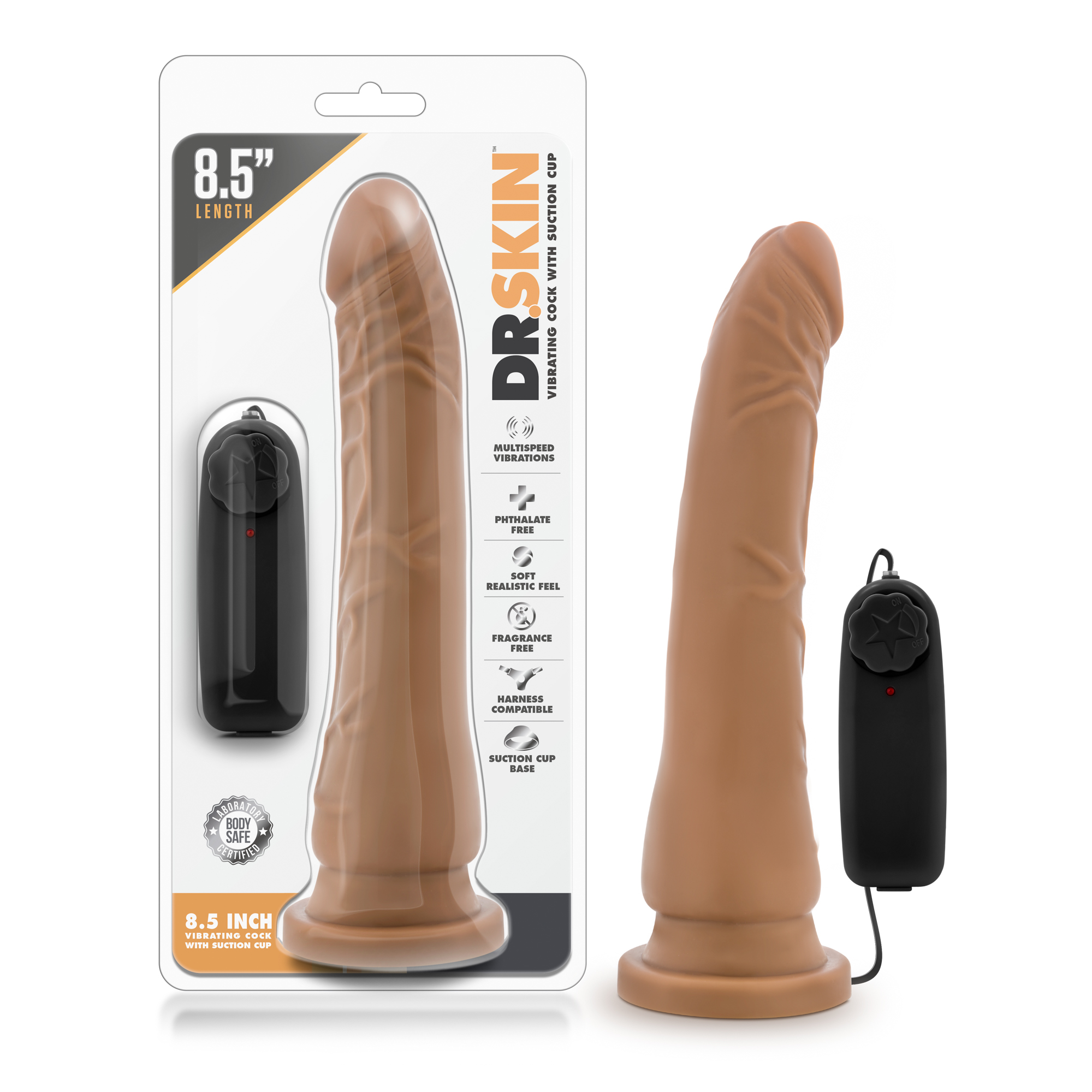 Dr. Skin - 8.5 Inch Vibrating Realistic Cock With Suction Cup - Mocha