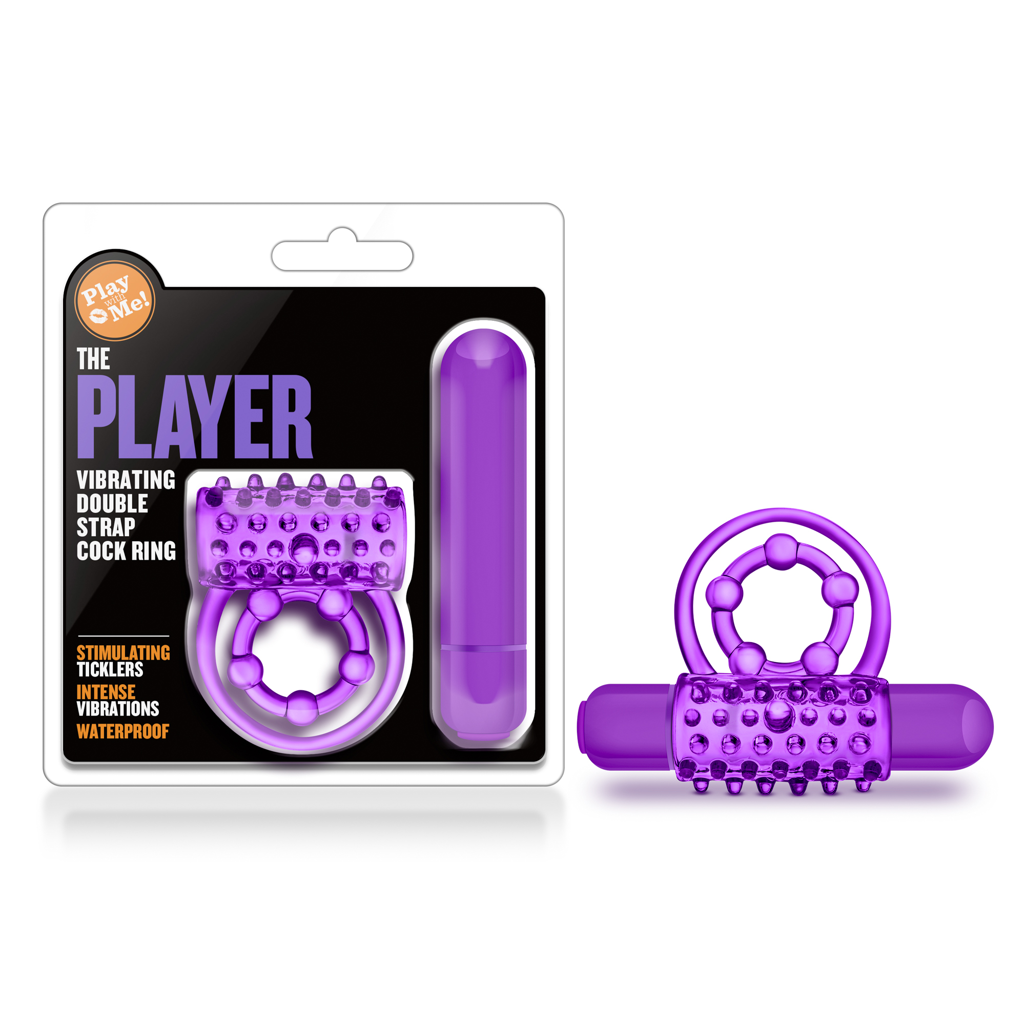 Play With Me - The Player - Vibrating Double Strap Cockring - Purple