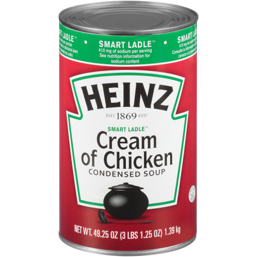 HEINZ Reduced Sodium Cream of Chicken Soup, 49.25 oz. Can, (Pack of 12)