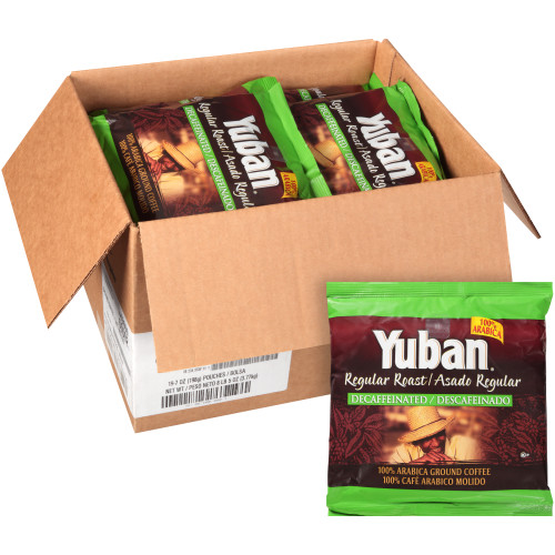 YUBAN Regular Roast & Ground Decaf Coffee Bags, 7 oz. Bag (Pack of 19)