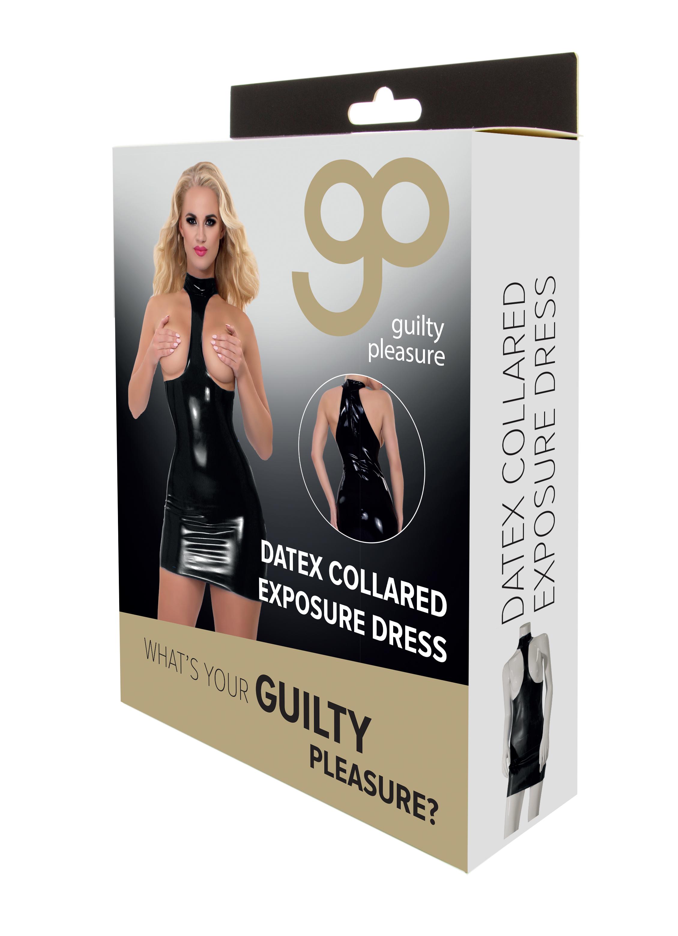 Guilty Pleasure - Datex Collared Exposure Dress - L - Black