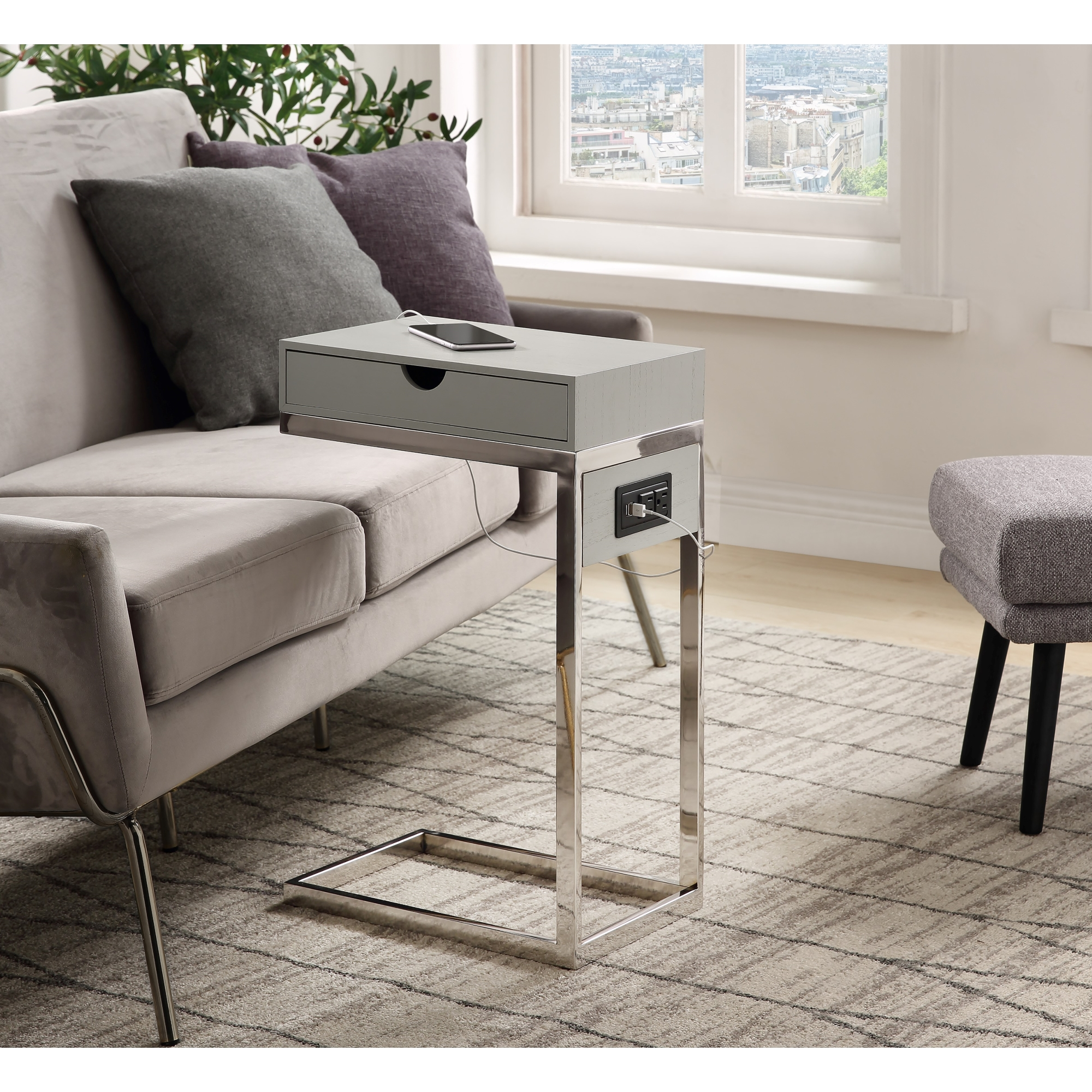 Loft Lyfe Grey/Chrome End Table 2 USB Charging Ports, 2 Outlets, Power Plug 1 Drawer