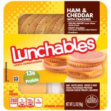 Oscar Mayer Lunchables Ham & Cheddar with Crackers 3.2 oz Tray
