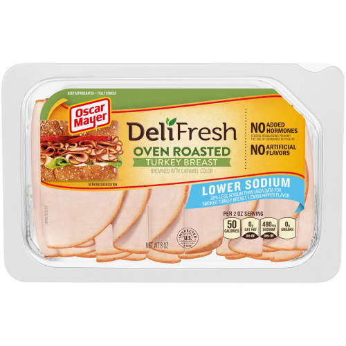 OSCAR MAYER Deli Fresh Lower Sodium Oven Roasted Turkey Breast 8 oz Tray