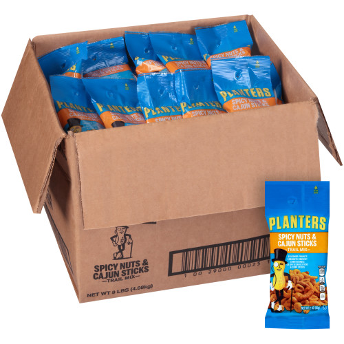 Planters Spicy Nuts & Cajun Sticks Trail Mix Spicy Peanuts, Corn Nuts, Corn Kernels Cajun Sesame Corn Sticks, 72 ct Casepack, 2 oz Packs