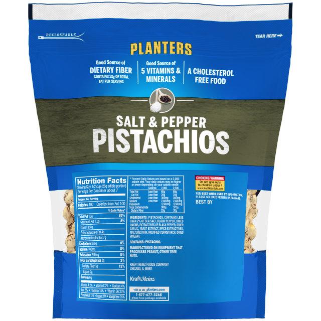 PLANTERS Sea Salt & Black Pepper Pistachios 12.75 oz Bag