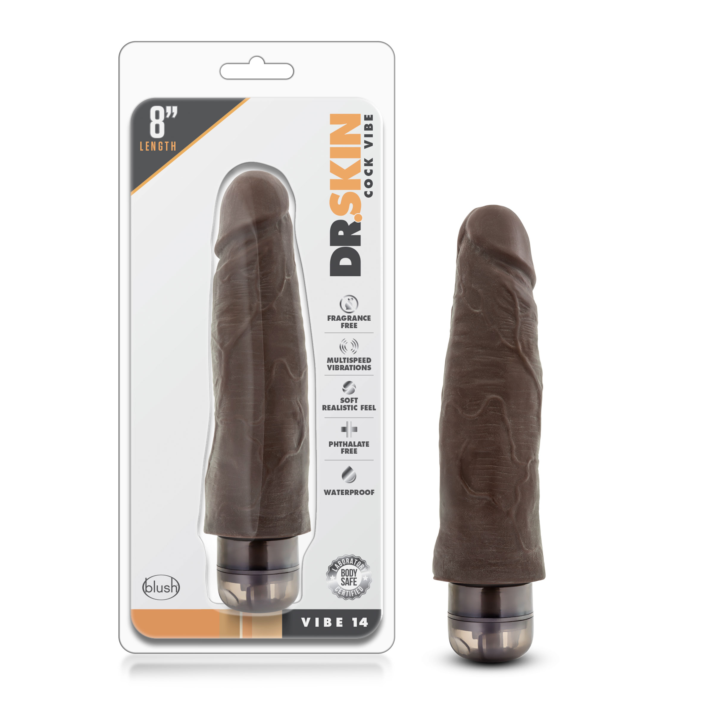 Dr. Skin - Cock Vibe 14 - 8 Inch Vibrating Cock - Chocolate