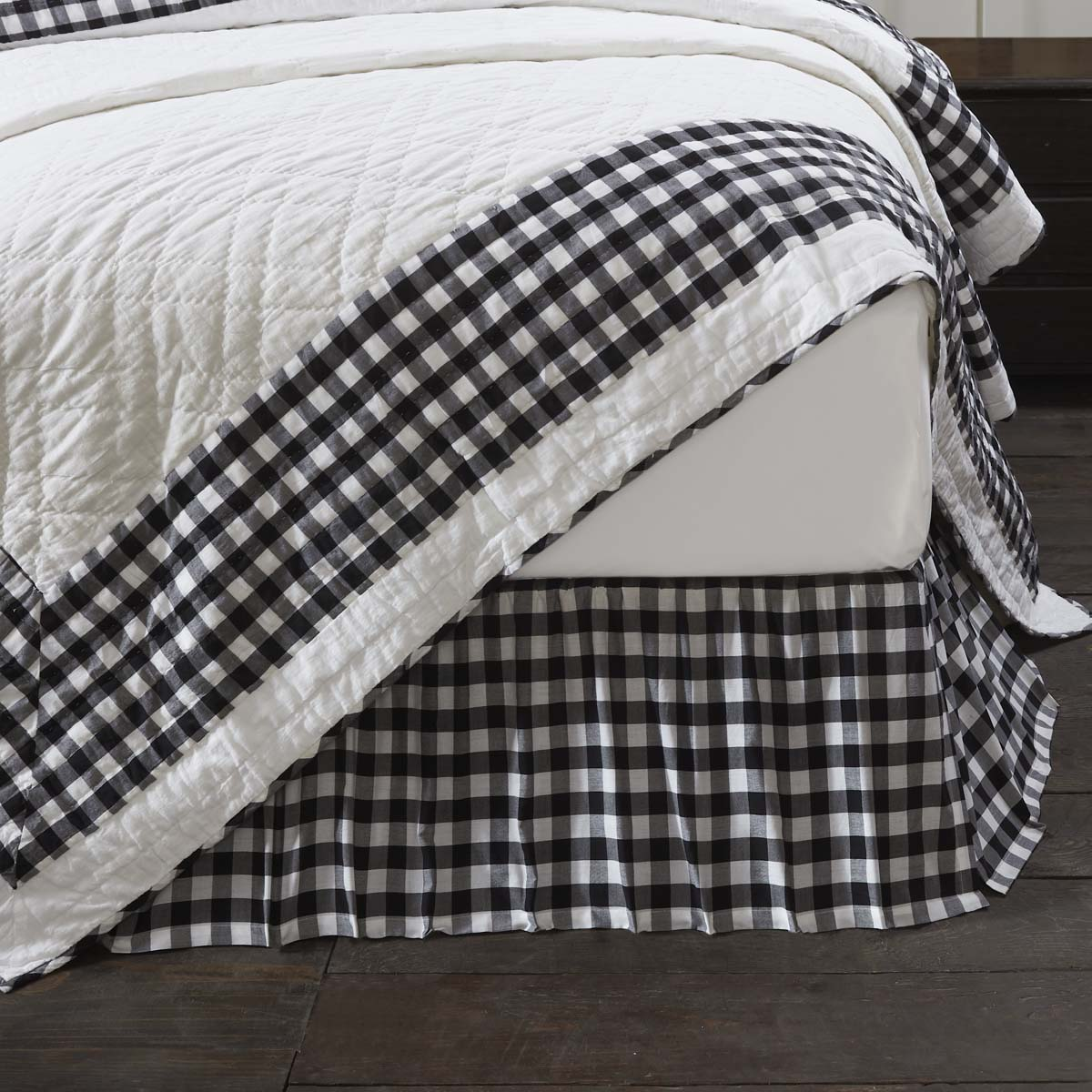 Annie Buffalo Black Check Twin Bed Skirt 39x76x16
