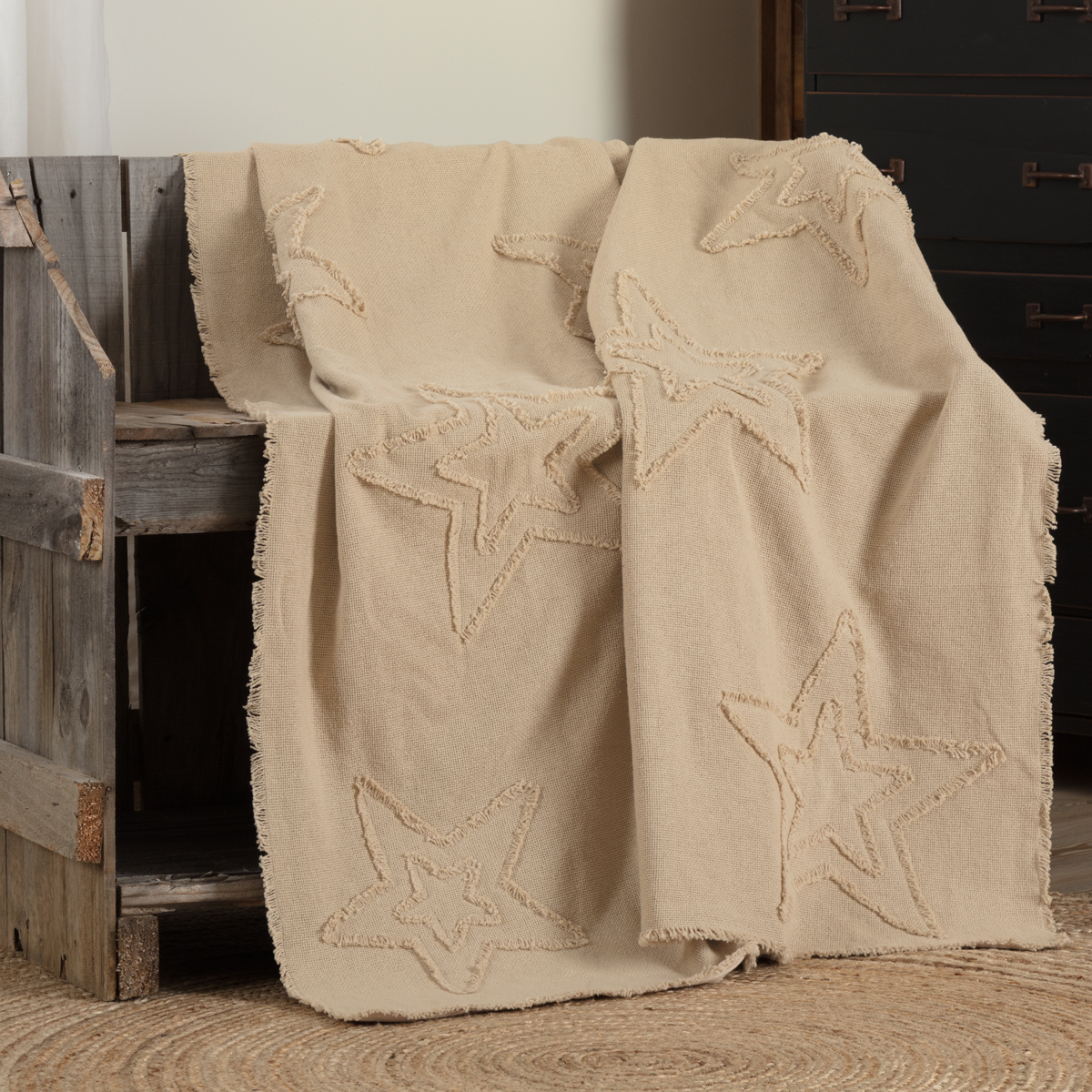 Burlap Vintage Star Woven Throw 60x50