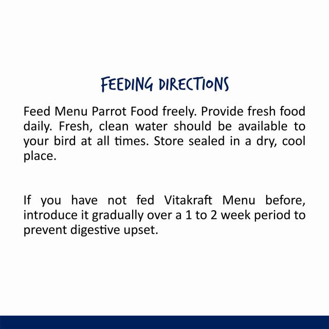 Nutrition-Image showing Menu Parrot