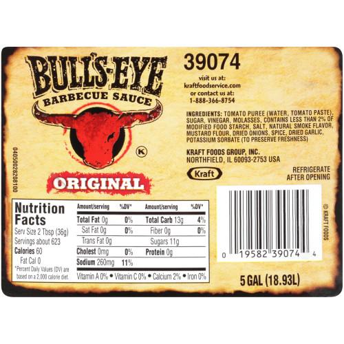 BULL'S-EYE Original BBQ Sauce, 5 gal. Pail