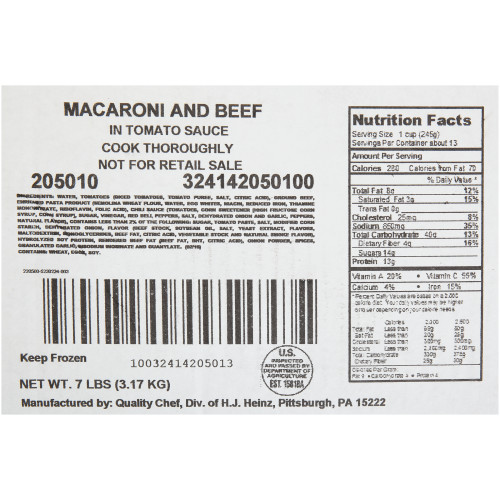 QUALITY CHEF Macaroni & Beef, 7 lb. Frozen Bag (Pack of 6)