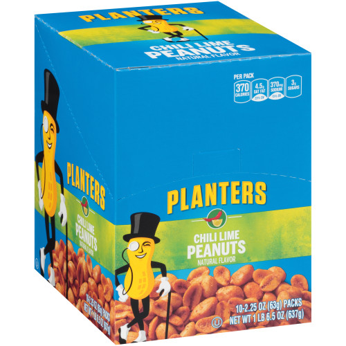 PLANTERS Chili Lime Peanuts, 2.25 oz. Bag (3/10 Packs)